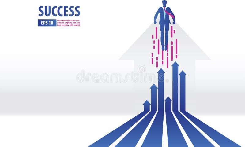Concept de flèches d'affaires avec le vol d'homme d'affaires au succès diagramme de finances de croissance vers le haut des vente illustration de vecteur