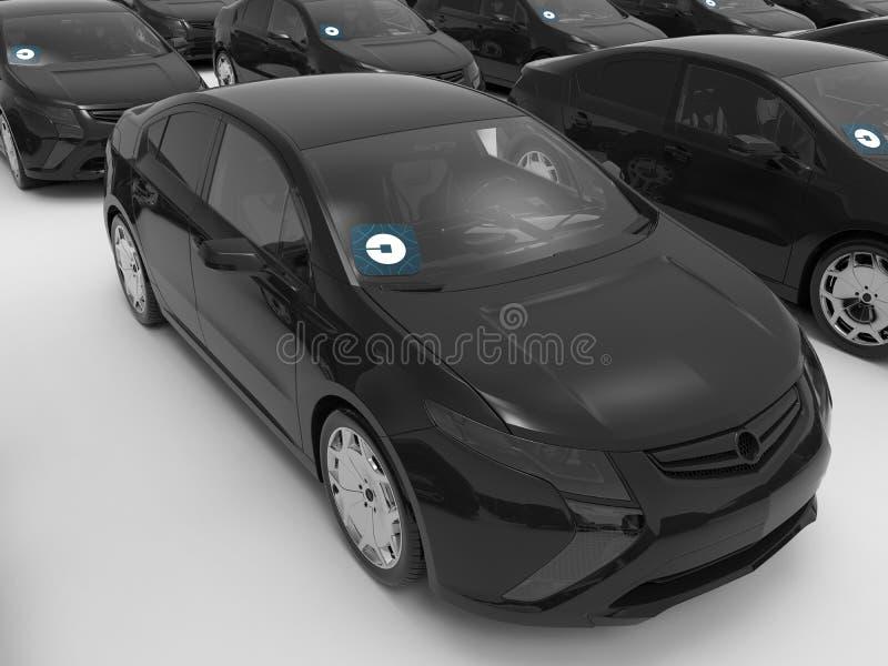 Concept de flotte de noir d'Uber illustration stock