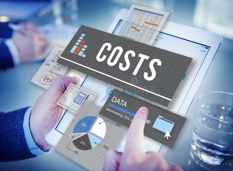 Concept de flux de liquidités de finances d'argent de budget de coûts images libres de droits