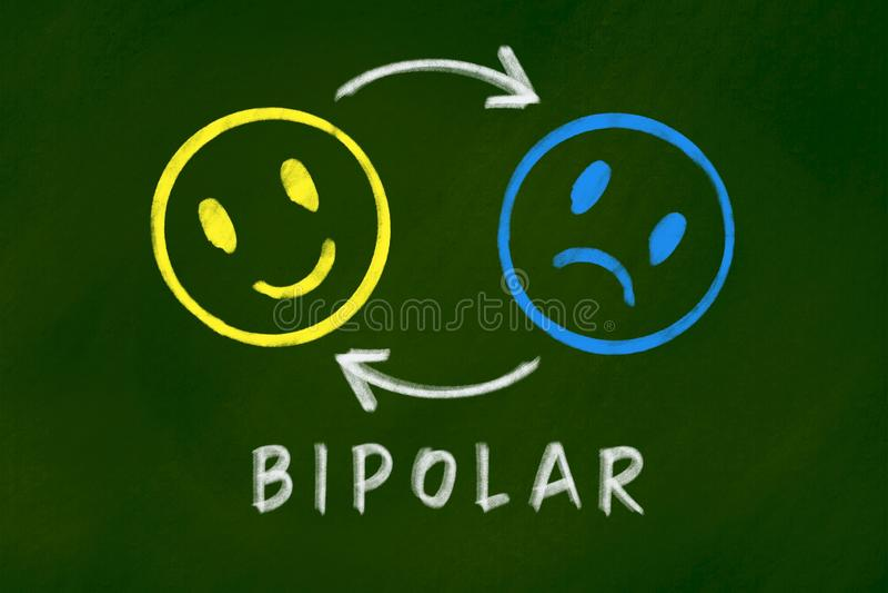 Concept de fond de trouble bipolaire sur le tableau vert photographie stock