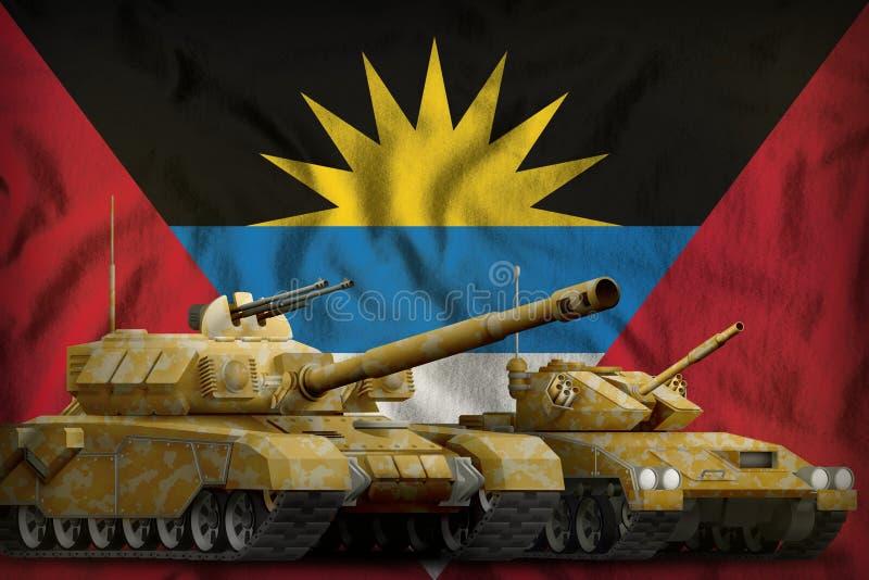 Concept de forces de réservoir de l'Antigua-et-Barbuda sur le fond de drapeau national illustration 3D illustration de vecteur
