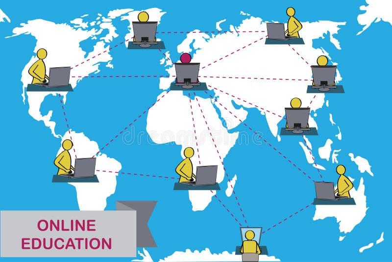 Concept de formation à distance et d'apprentissage en ligne illustration libre de droits