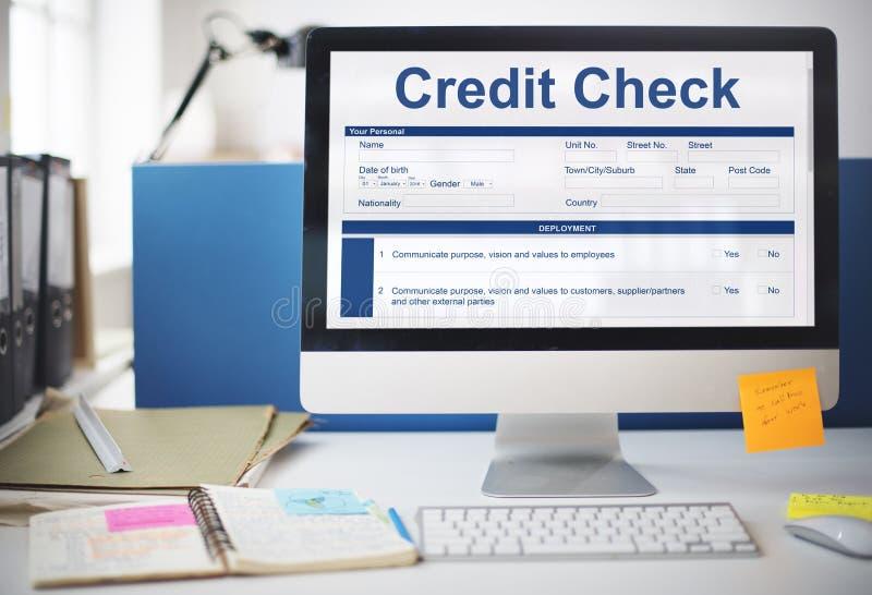 Concept de forme de demande de comptabilité financière de vérification de la solvabilité image stock