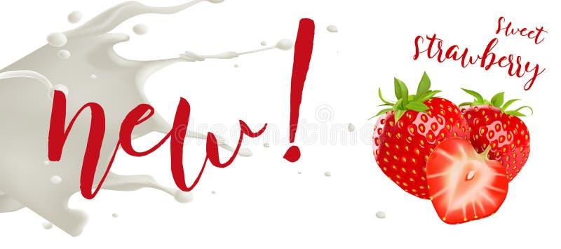 Concept de fraise de yaourt Illustration réaliste de vecteur de fraise avec l'éclaboussure de lait illustration stock