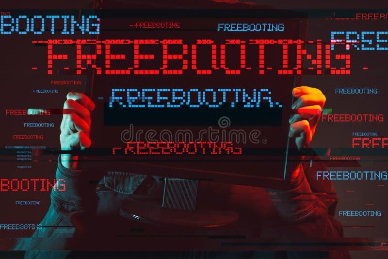 Concept de Freebooting avec la personne masculine à capuchon sans visage images stock