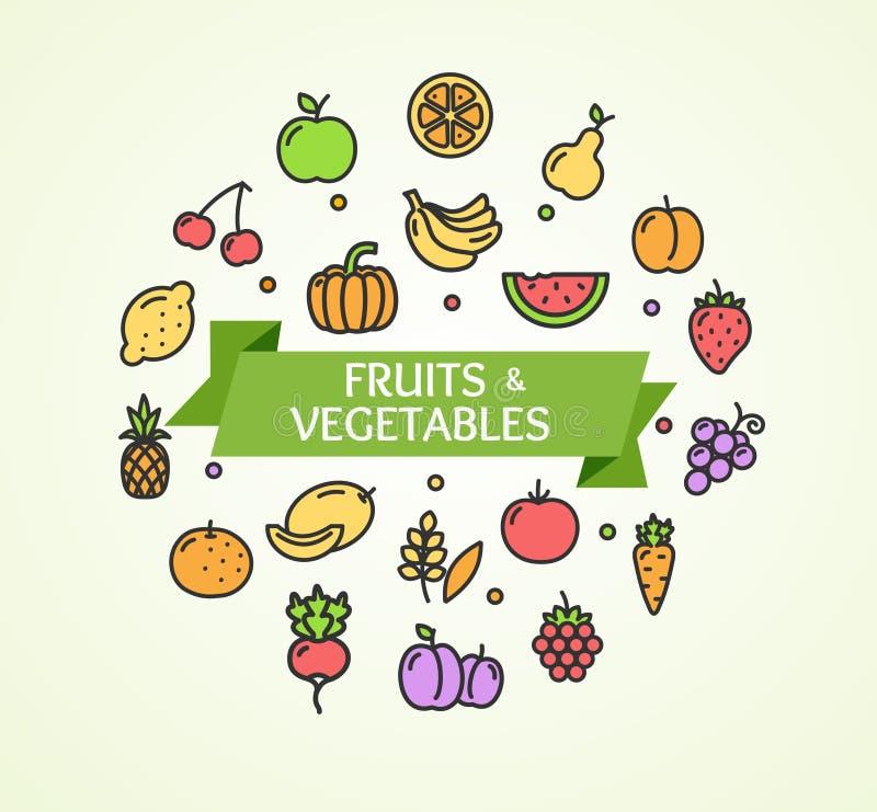 Concept de fruits et légumes Vecteur illustration de vecteur