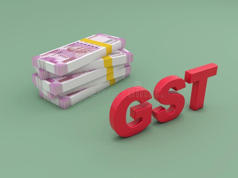Concept de G S T avec la nouvelle devise indienne illustration stock