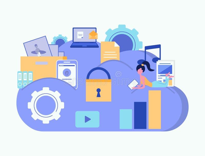 Concept de garantie de nuage Stockage de nuage Calcul de nuage Protection des données Concept d'affaires Illustration de vecteur illustration stock