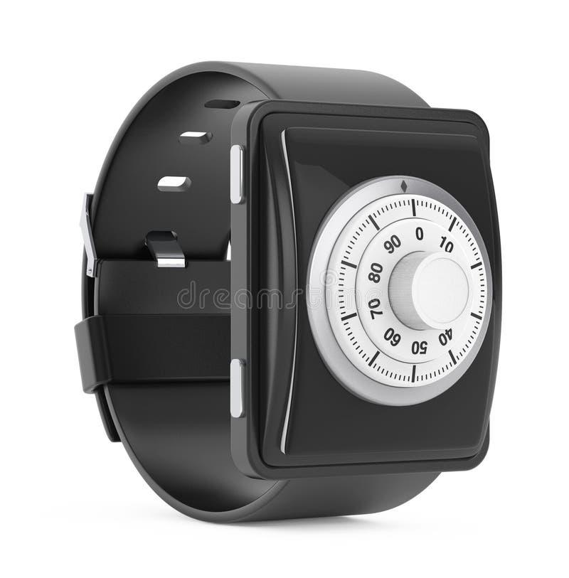 Concept de garantie Smartwatch avec la serrure de code rendu 3d illustration stock