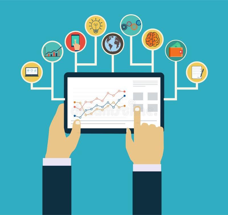 Concept de gestion d'entreprise, mains d'interaction utilisant les apps mobiles illustration stock