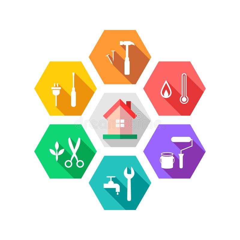 Concept de gestion d'entretien et d'installation avec la maison et les outils illustration de vecteur