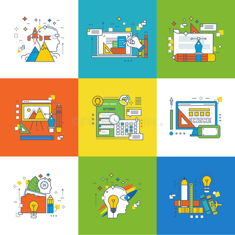 Concept de gestion, de conception graphique, de succès dans l'étude et de la formation illustration stock