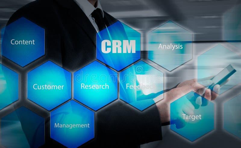 Concept de gestion de relations d'affaires, de technologie, d'Internet et de client Bouton de crm de pressing d'homme d'affaires  image stock