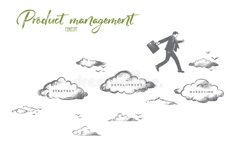 Concept de gestion du produit Vecteur d'isolement tiré par la main illustration libre de droits