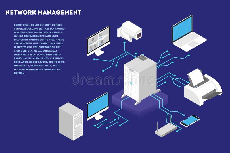 Concept de gestion du réseau Serveur d'ordinateur et base de données de nuage illustration stock