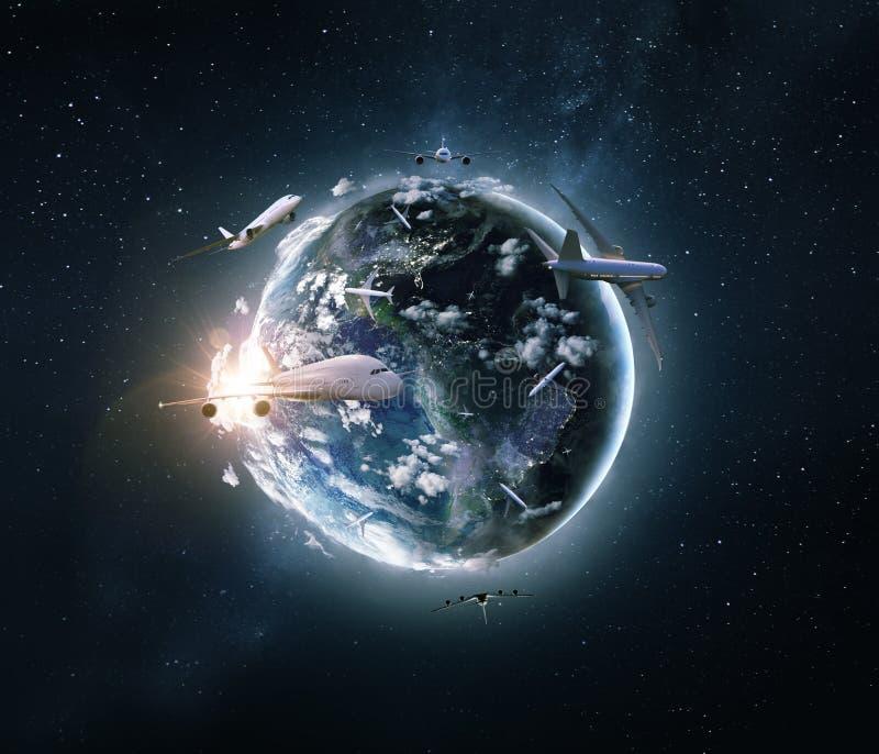 Concept de globale reis van het Wereldvliegtuig stock illustratie