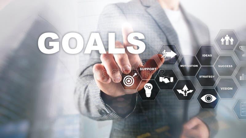 Concept de graphique d'accomplissement d'attentes de buts de cible Développement des affaires au succès et au gro croissant photographie stock
