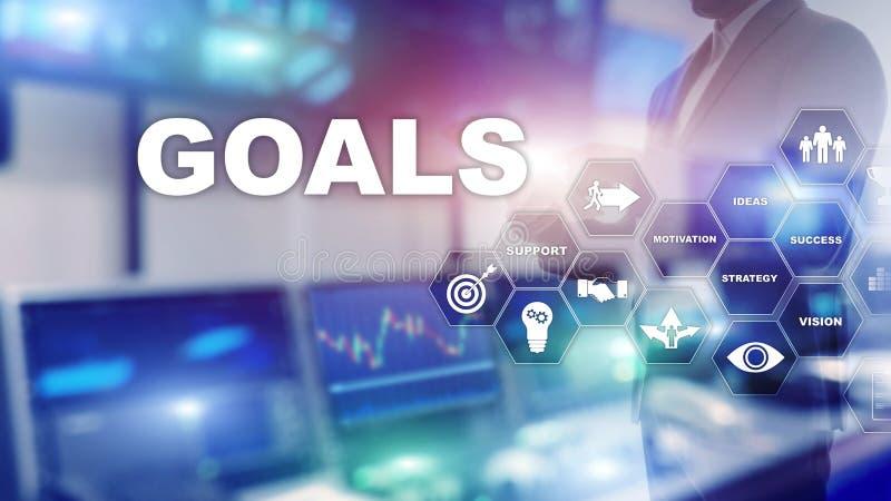 Concept de graphique d'accomplissement d'attentes de buts de cible E photographie stock