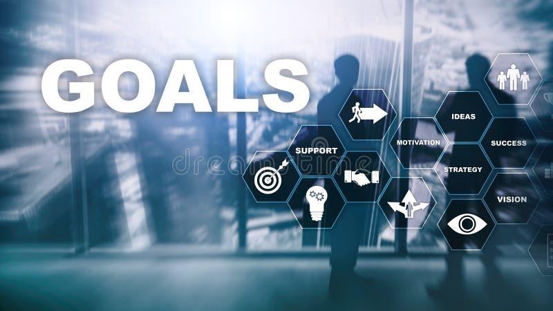 Concept de graphique d'accomplissement d'attentes de buts de cible E photo stock