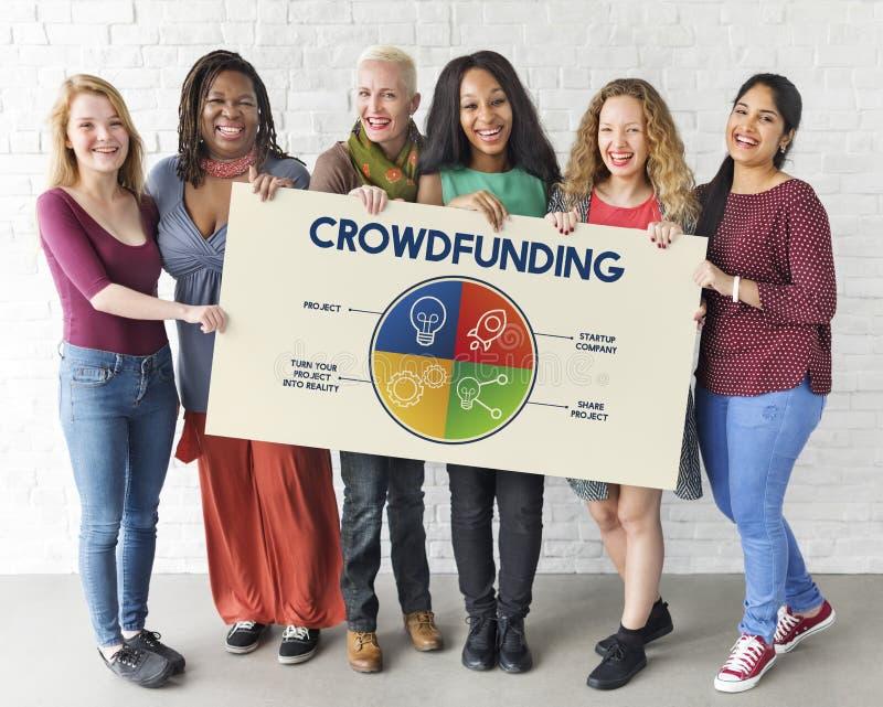 Concept de graphique d'entreprise de plan de Rocketship d'ampoule de Crowdfunding photo stock