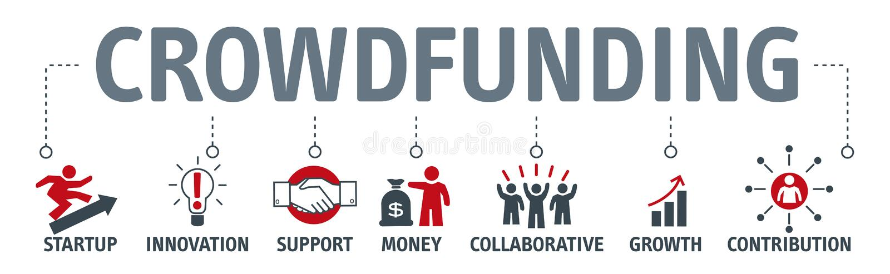 Concept de graphique d'icône d'affaires d'argent de Crowdfunding de bannière illustration de vecteur