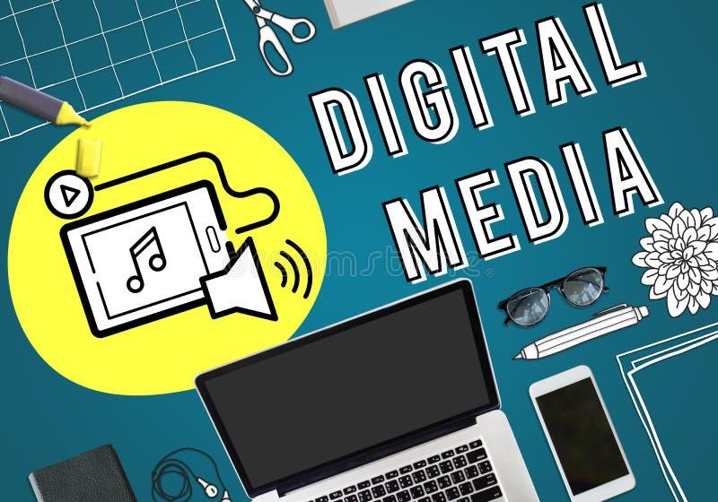Concept de graphique de dispositifs de technologie de media de Digital illustration stock