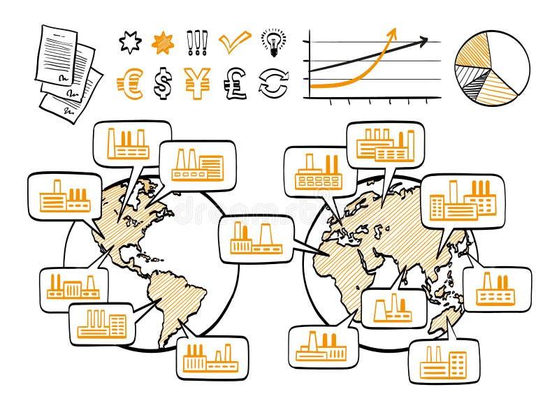 Concept de griffonnage d'affaires globales illustration libre de droits