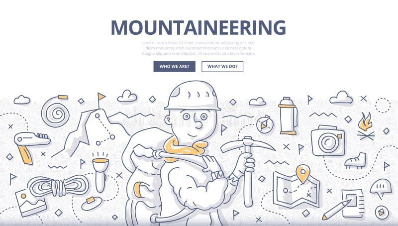 Concept de griffonnage d'alpinisme illustration stock
