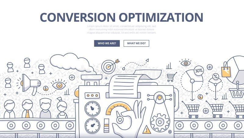 Concept de griffonnage d'optimisation de conversion illustration de vecteur