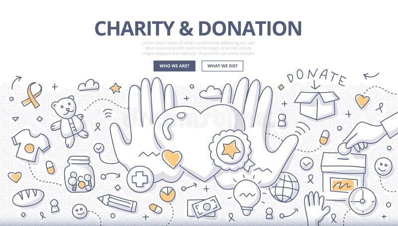 Concept de griffonnage de charité et de donation illustration de vecteur