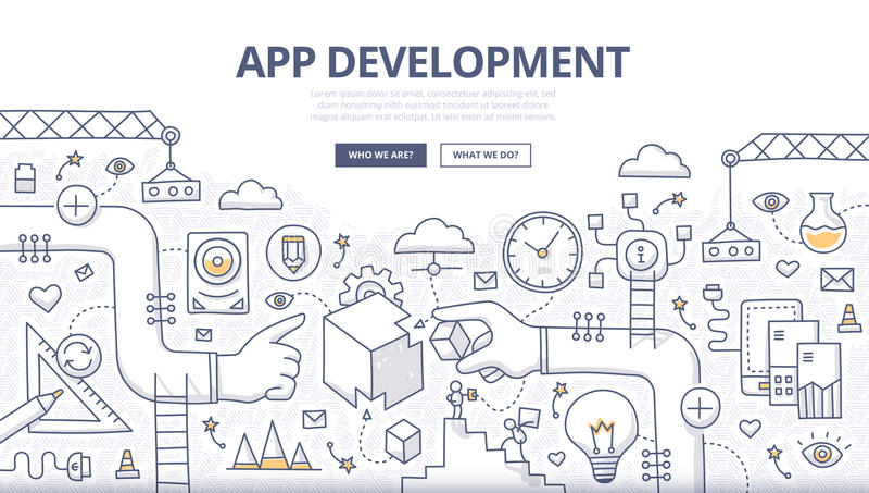 Concept de griffonnage de développement d'applications illustration libre de droits
