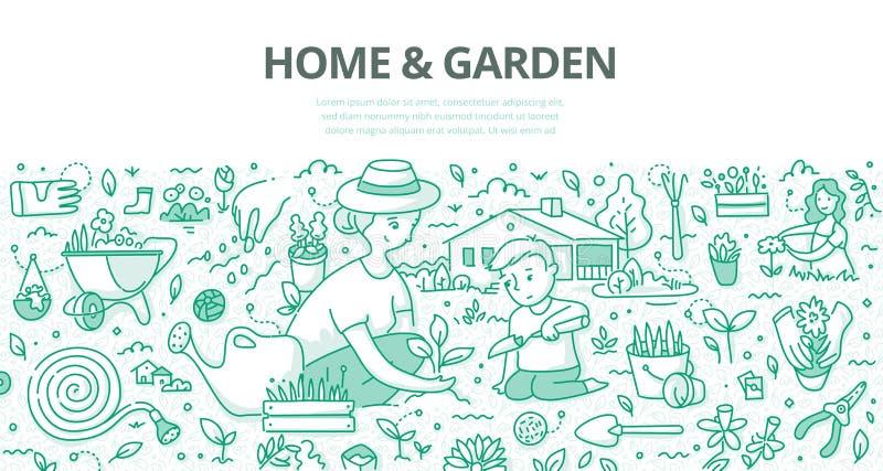 Concept de griffonnage de maison et de jardin illustration stock
