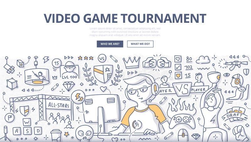 Concept de griffonnage de tournoi de jeu vidéo illustration libre de droits