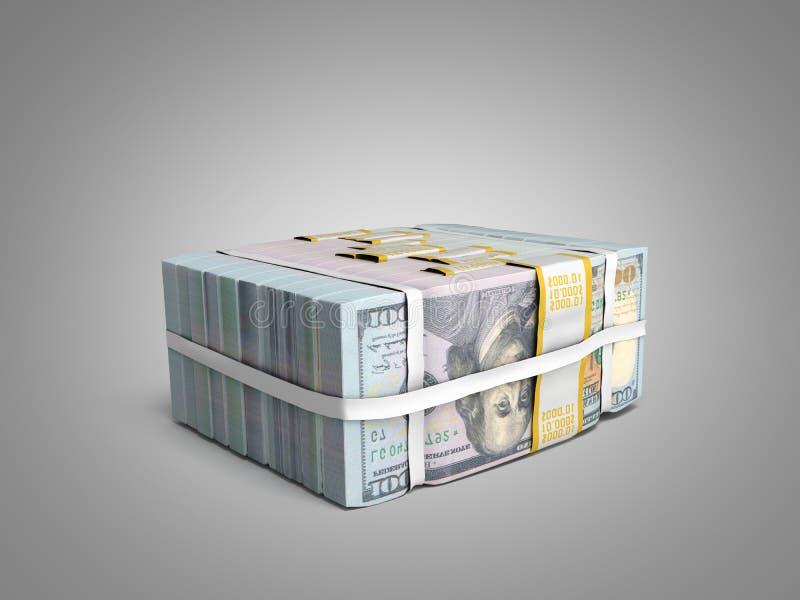 concept de Grote Stapel van gelddeposite van het Contante geld van dollarrekeningen met BO vector illustratie