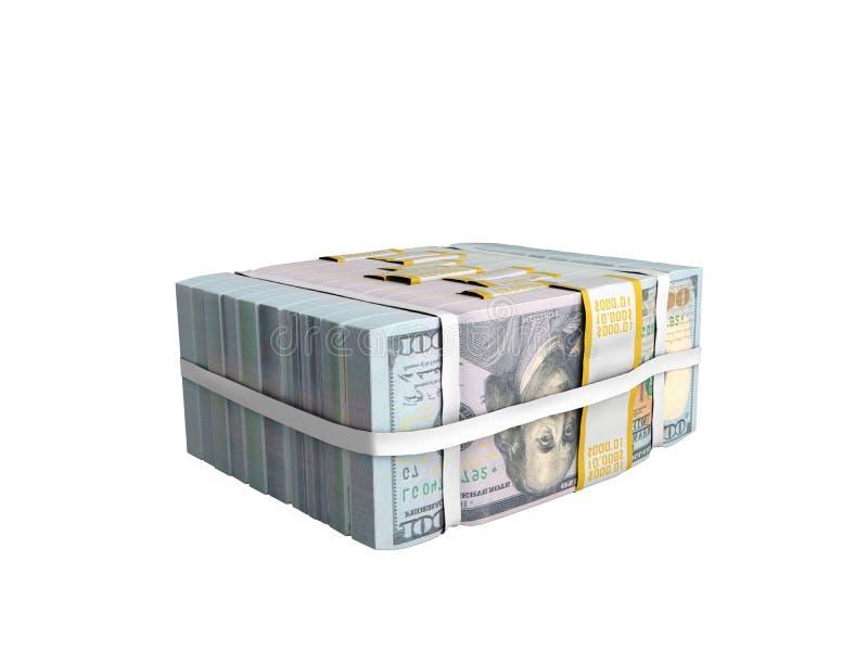 concept de Grote Stapel van gelddeposite van het Contante geld van dollarrekeningen met BO royalty-vrije illustratie