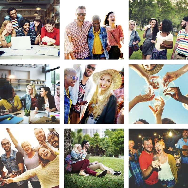 Concept de groupe de bonheur de collection d'amusement d'amitié images libres de droits