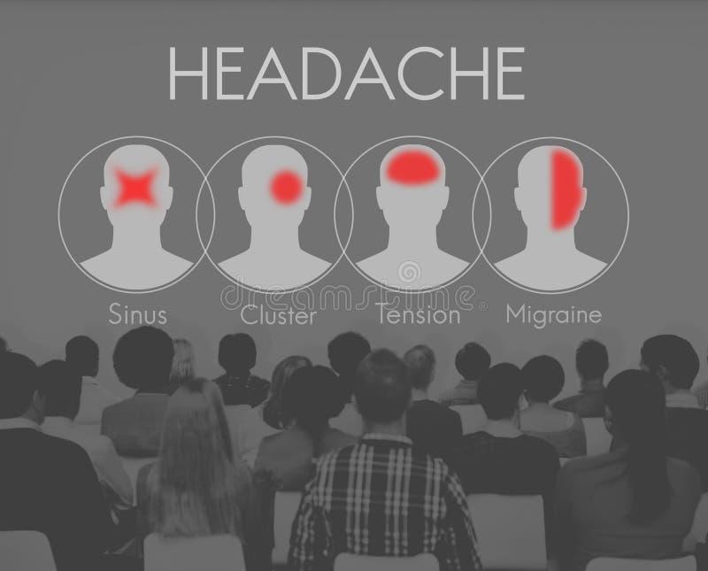 Concept de groupe de tension de migraine de symptôme de mal de tête photos libres de droits