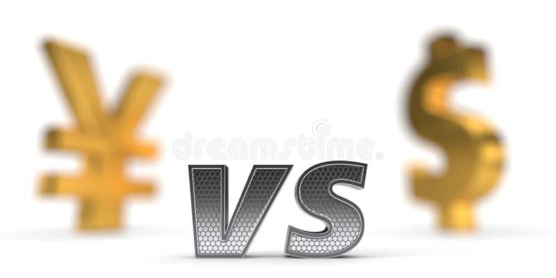 Concept de guerre économique Yuan contre le dollar illustration 3D illustration de vecteur
