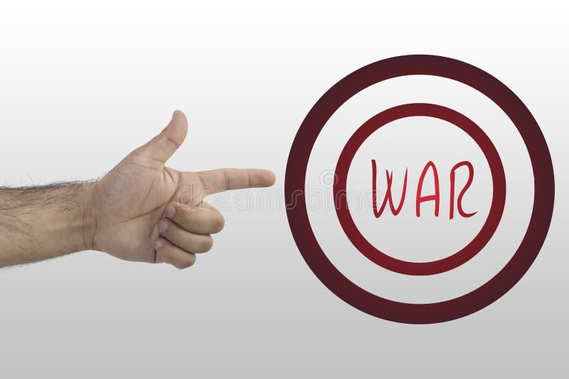 Concept de guerre Guerre mondiale III Temps de guerre Main indiquant l'inscription : GUERRE photo libre de droits