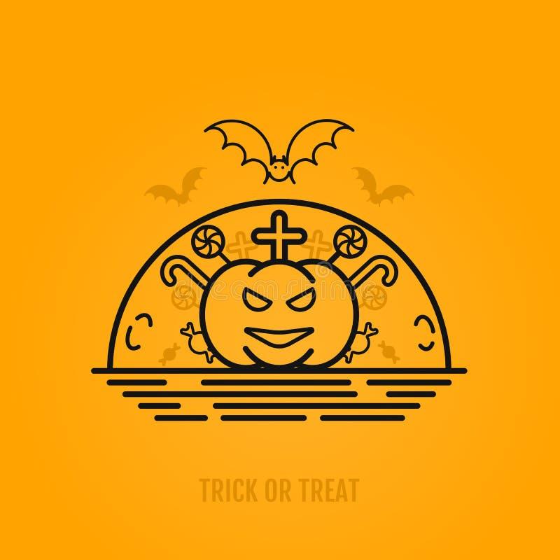 Concept de Halloween avec les battes, la lune, le cercueil et les tombes illustration libre de droits