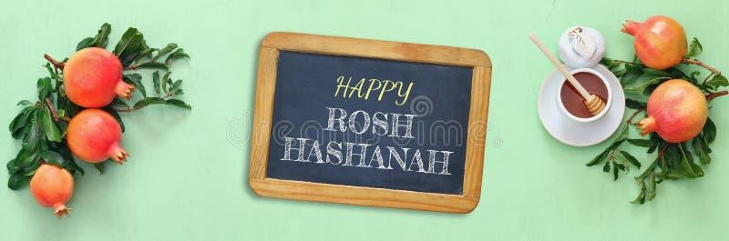 Concept de hashanah de Rosh (nouvelle année juive) Symboles traditionnels image libre de droits