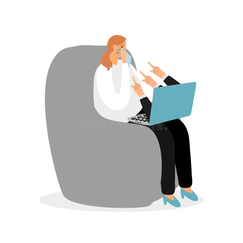 Concept de intimidation de vecteur d'Internet Femme pleurant devant l'illustration d'ordinateur illustration de vecteur
