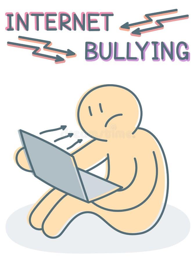 Concept de intimidation de vecteur d'Internet - victime triste s'asseyant avec l'ordinateur portable illustration de vecteur