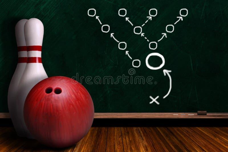 Concept de jeu avec l'équipement de bowling et le panneau de craie illustration libre de droits