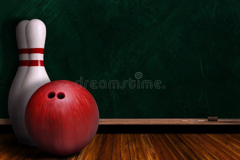 Concept de jeu avec l'équipement de bowling et le panneau de craie illustration stock