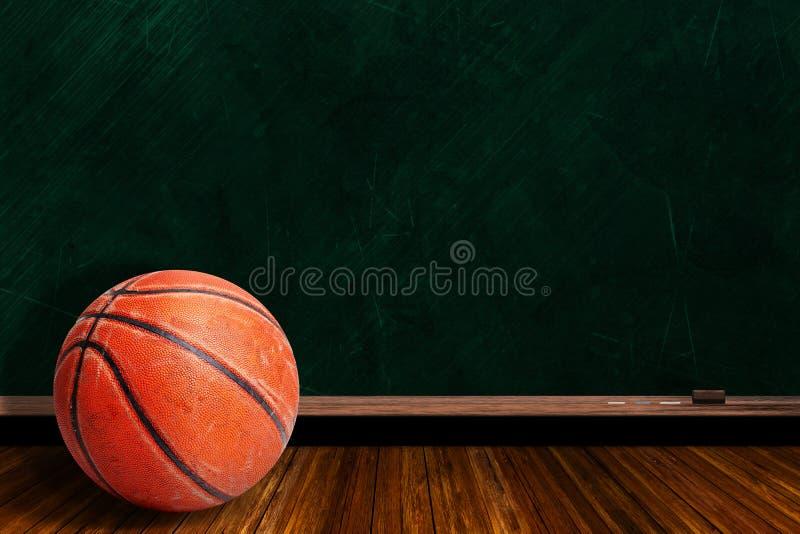 Concept de jeu avec le basket-ball et la stratégie de jeu de panneau de craie illustration stock