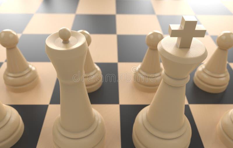 Concept de jeu de société d'échecs des idées d'affaires et de la concurrence, illustration blanche des chiffres 3d de concept d'i illustration de vecteur