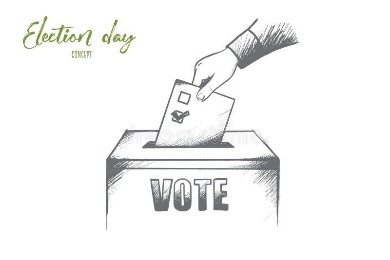 Concept de jour d'élection Vecteur d'isolement tiré par la main illustration de vecteur