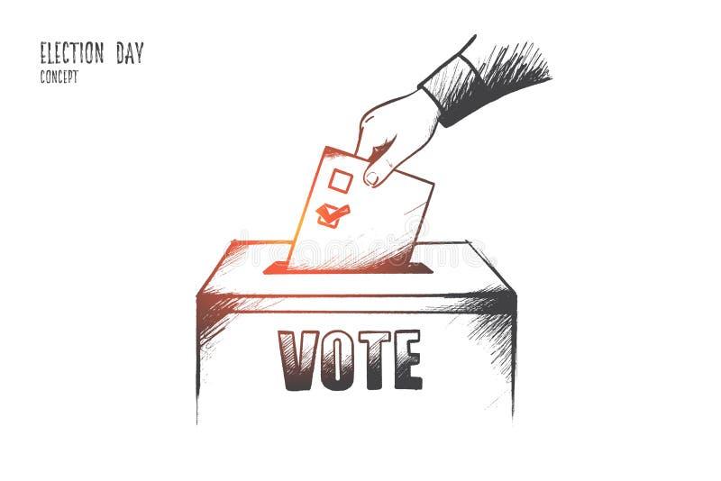 Concept de jour d'élection Vecteur d'isolement tiré par la main illustration stock