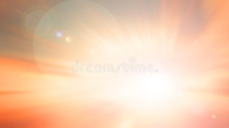 Concept de jour d'environnement du monde : La lumière et l'abrégé sur de Sun ont brouillé le fond de lever de soleil d'automne illustration de vecteur
